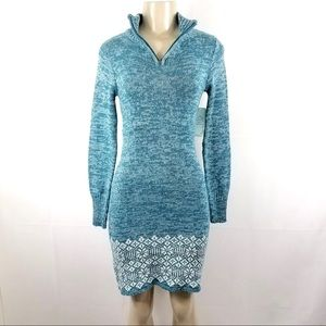 NWT SOYBU Blue White Floral Knitted Dress XS
